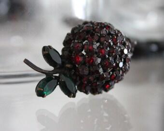 Gorgeous Warner Jeweled Strawberry Brooch