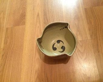 Tan Swirl Glazed High Fired Stoneware Bowl