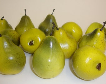 Faux Fruit. Mini Yellow/Green Pears Fruit Kitchen Realistic Food, Fake Display Home Decor. Bag of 12 Pieces.