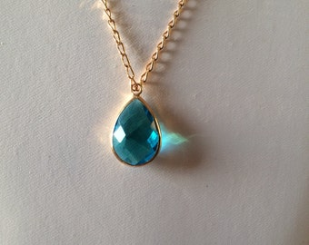 Golden brass Blue Crystal Necklace