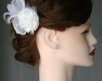Stunning Bridal Flower Hair Clip design w/ beautifully shaped feathers