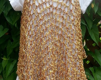 Bronze & Gold Crocheted Cover Up / Tank Top / Dress