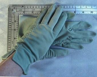 Soft green, wrist length gloves