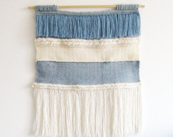 Wall Hanging weaving / Blue white stripes and tassels // Handwoven Tapestry Textile Wall Art Home Decor // Large weaving