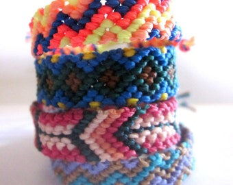 Zig Zag, Diamonds or Arrows Woven Friendship Bracelets. Choose Your Design