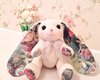 The handmade hare (rabbit) toy with Provence picture on the ears. Cotton and polar with hollowfiber inside.
