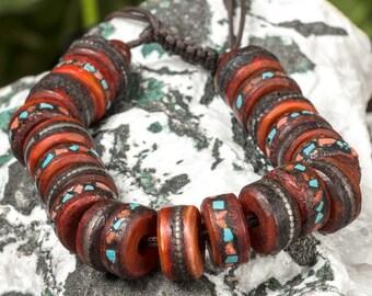 Tibet Heart Healing Bracelets - Yoga Bracelet Yak Bone With Turquoise Silver Coral - Energy Bracelet, Mala Bracelet, Bone Bracelet