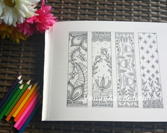 Madhubani Inspired Flowers Nature Bookmarks DIY, Printable Coloring, Digital Download, Sheet 2