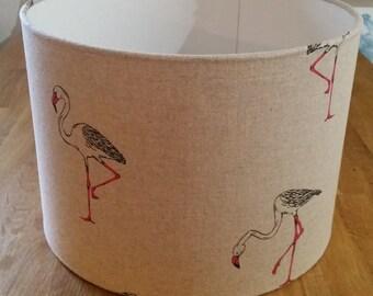 Drum Lampshade - Flamingo Print Fabric