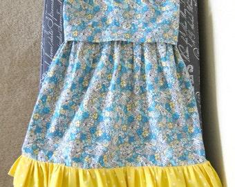 Size 5 - Turquoise & yellow dress w/ruffles