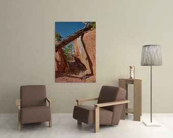 Fallen tree nature photography – Colorado hiking trail – Vertical canvas art – Red rock path – Southwest landscape photography – Masculine