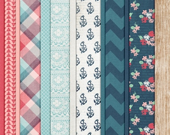 Adjust Your Sails - Nautical Digital Papers - 12 x 12 - Scrapbooking Pack - Perfect for Sailing or Beach Pages!