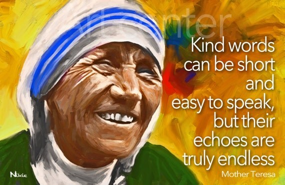 Items Similar To Kind Words Mother Teresa Quote Print