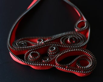red zipper necklace