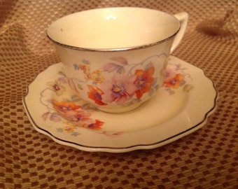 W S George Floral Tea Cup and saucer