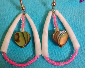 pink tear drop shaped earrings with dentalium and abalone