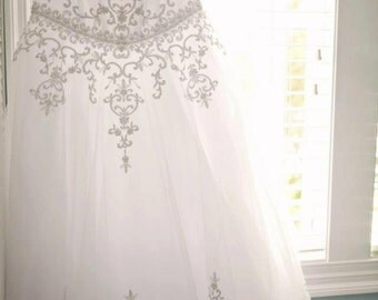 Vintage Beaded Wedding Gown Size 14