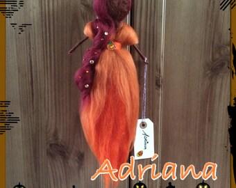 Halloween hand felted doll called Adriana