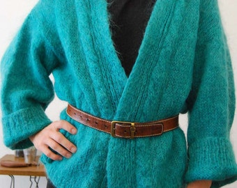 Wide cardigan/cardicool vintage wool and mohair - Oversized wool and mohair cardigan/cardicool