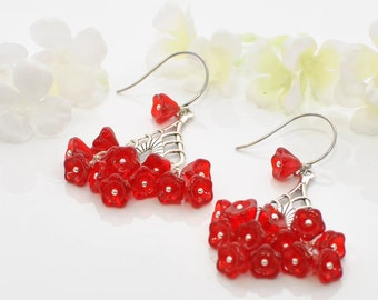 Red Flower Chandelier Earrings Drops O' Crimson -Red Earrings -Red Chandeliers -Flower Jewelry -Gift for Her -Floral Earrings -Earring Gift