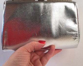 Vintage Silver Handbag or Clutch - Row of Sparkling Rhinestones Across Top of Silver Metal Frame - Silver Chain - 50's Classic Evening Bag