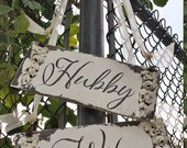 Hubby and Wifey Signs. Wedding Chair Sign. Wedding Sign. Rustic Wedding. Photo Props. Wedding Decor. Wedding Reception. Wedding Ceremony.