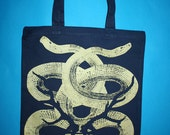 Snakes tote, snakes, blue tote bag, golden snakes, screen printed tote, boho canvas bag, bohemian canvas tote, navy blue tote