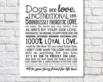 Dog Art Print Dogs Are Love Poem Dogs Wall Art I Love My Dog Quotes Poster Dog Owner Gift For Dog People Animal Rescue Artwork Pet Saying