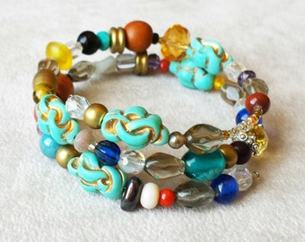 Colorful Boho chic Wrap Bracelet, Vintage Turquoise Gemstones and Lampwork Beads, Stacking Bracelet, Bohemian Cuff bracelet, One of a Kind