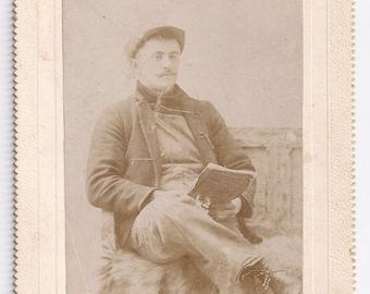 Reader with cap unique antique photo