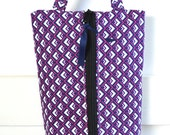 Boxy Zipper Pouch Toiletry Bag with Handle - Navy Pink Diamond