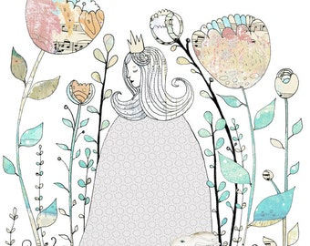 Princess Art Print, Kids Fairy Tale Illustration Reproduction , 11x14 Giclee Print , Whimsical Flower Art