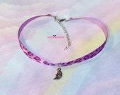 Purple Leopard Print Moon Choker Necklace