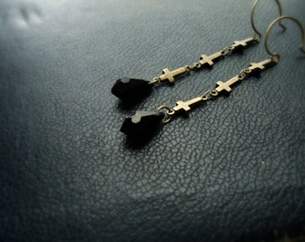 reduced - nephilim - upside down crosses and black vintage plastic drop earrings - goth occult satanic festival jewelry