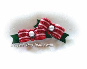 Christmas Dog Bow, Holiday Dog Bow, Christmas Puppy Bows, Dog Hair Bow, Holiday Pet Bow, Xmas Dog Bow