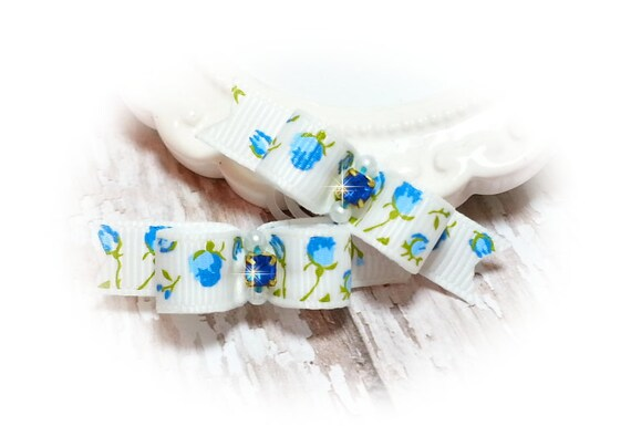 Flowers Dog Bow, Blue Flower Bow, Flower Puppy Bow, Grooming Bow