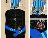 Cat and Monarch - Hand Painted Paper Shooting Target Art