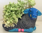 orignal found object painting / sculpture / planter - Sheep