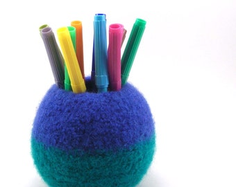 Felted wool bowl - round bowl - wool felt - cobalt and emerald