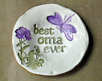 Ceramic OMA Trinket Dish Ring Bowl  edged in gold best oma ever  Mothers day