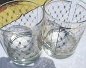 2 Vintage Georges Briard Gold Diamond Drinking Glasses Barware