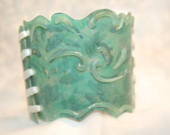 Polymer Clay Cuff / Light Blue Filigree
