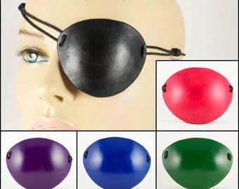 Plain color handmade leather eye patch masquerade costume pirate cosplay Halloween black red green blue or purple