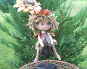 Raggedy Ann Doll, Woodland Sprite, Riding Black Crow, Collectible doll, OOAK Doll, Fall Leaves, Autumn Colors, Primitive Doll, Fantasy Doll