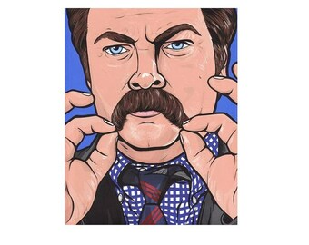 Ron Swanson Mustache Print