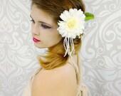 Ivory Bridal Headpiece, Bridal Fascinator, Woodland, Bohemian, Vintage, Flapper, Gatsby, Rustic Wedding, Fern, Flower Fascinator, Pearls