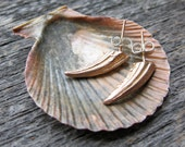 Seashell crab CLAW SPIKE studs rose gold plated sterling silver earrings