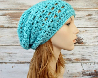 Crochet Hat Aqua Womens Hat Slouchy Beanie Aqua Hat Aqua Beanie - Aqua Blue Juliet Slouchy Hat - Womens Accessories - READY TO SHIP