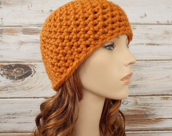 Apricot Orange Crochet Hat Orange Womens Hat - Orange Hat Orange Beanie Chunky Crochet Hat Womens Accessories Winter Hat - READY TO SHIP