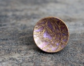Round Abstract ring. Polymer clay. Adjustable. Metallic Purple Gold. Clay fashion jewelry. Modern Contemporary Casual. Fimo Clay and Metal.